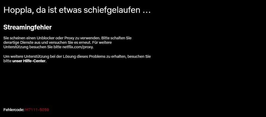 Fehlercode M7111-5059 auf Netflix