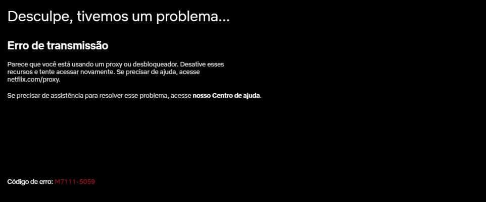 Código de erro M7111-5059 na Netflix