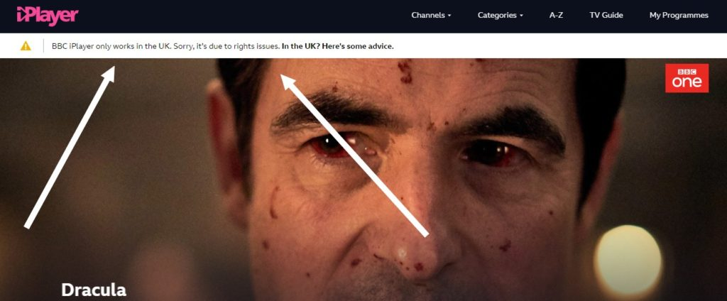 error message when you try to stream Dracula online on BBC iPlayer