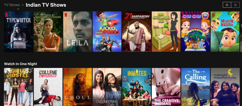 masse indisk innhold på Netflix i India