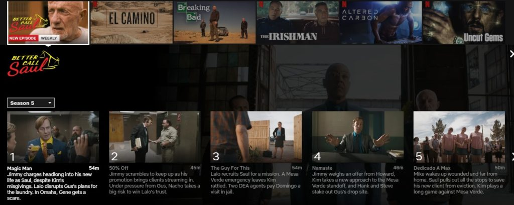 How to watch Better Call Saul season 5 on Netflix?