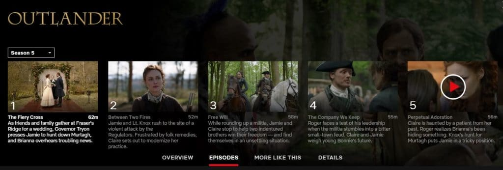 How can I watch Outlander season 5 on Netflix?