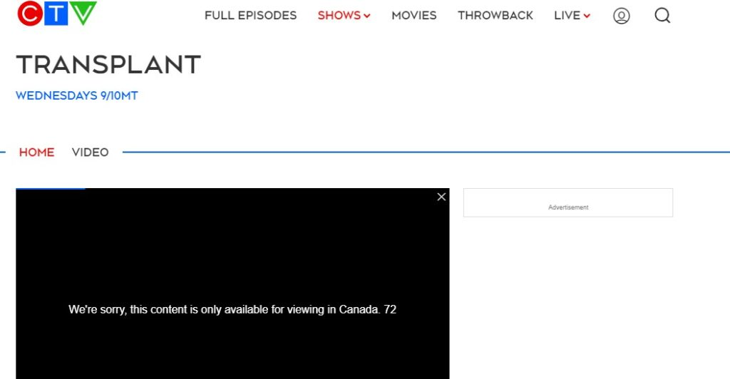 Error watching CTV outside Canada