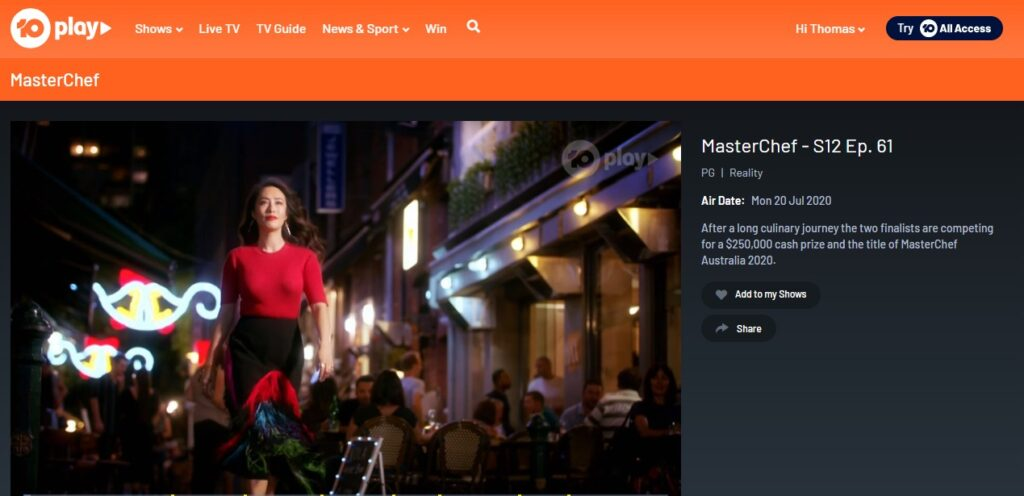 Watching MasterChef on-demand on 10Play