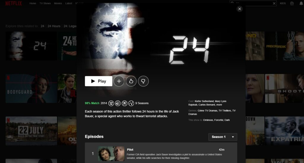 How and where can I watch 24 on Netflix?