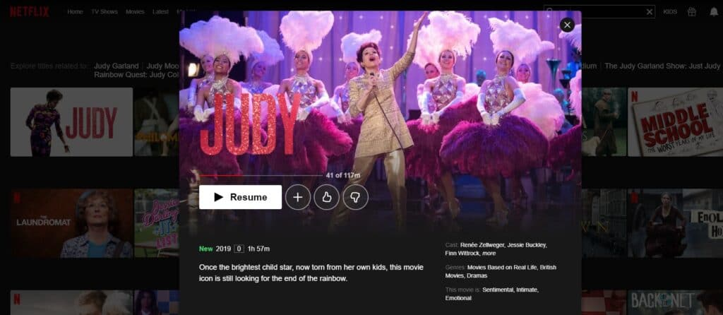 How and where can I watch Judy on Netflix?
