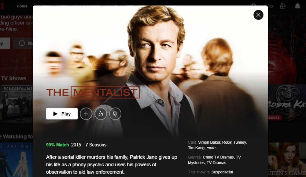 How and where can I stream The Mentalist on Netflix?