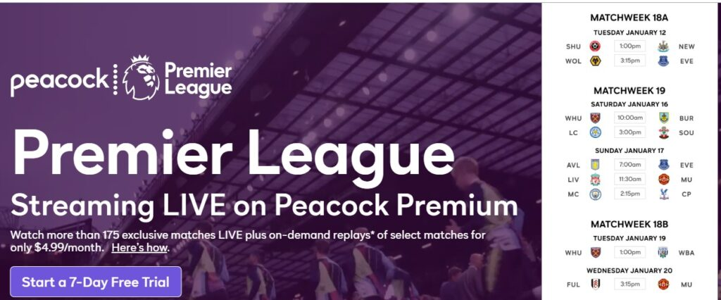Premier League schedule PeacockTV