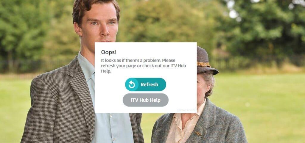 fejlmeddelelse på ITVs websted