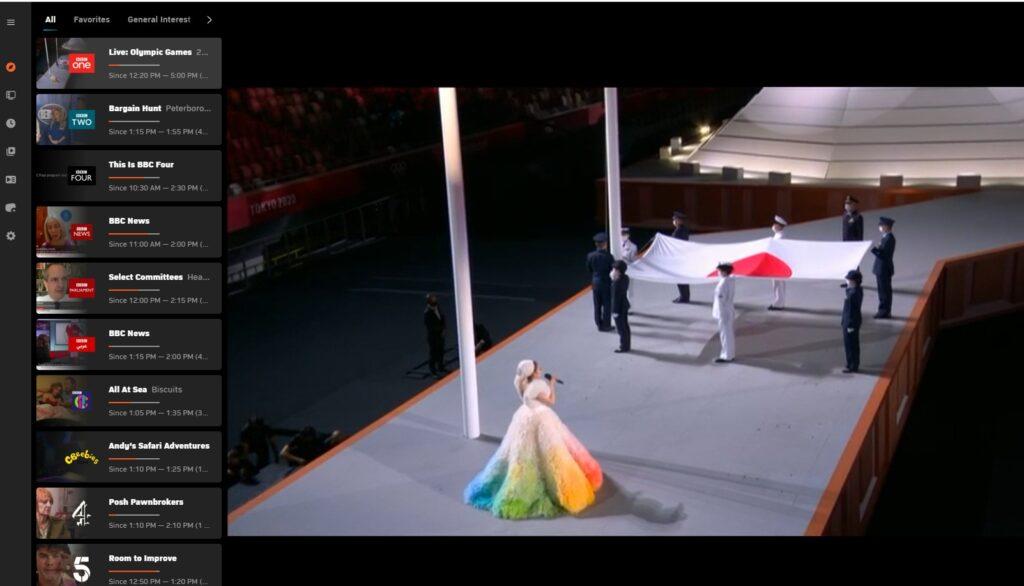 Här ser jag öppningsceremonin från sommar-OS på Zattoo (och där har jag valt liveströmmen från BBC).