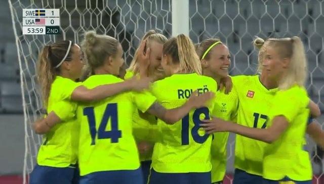 Sverige vann 3-0 mot USA i sin inledande match under sommar-OS 2021.