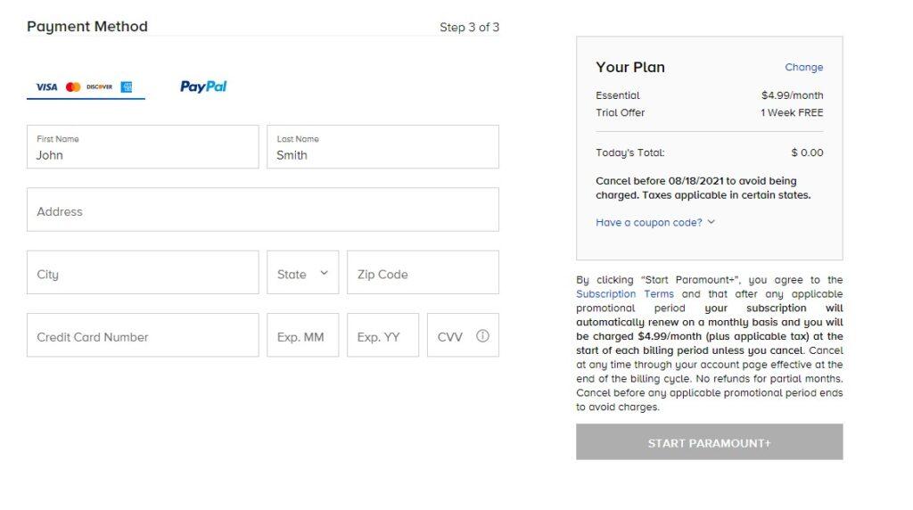 paramountplus visa paypal mastercard